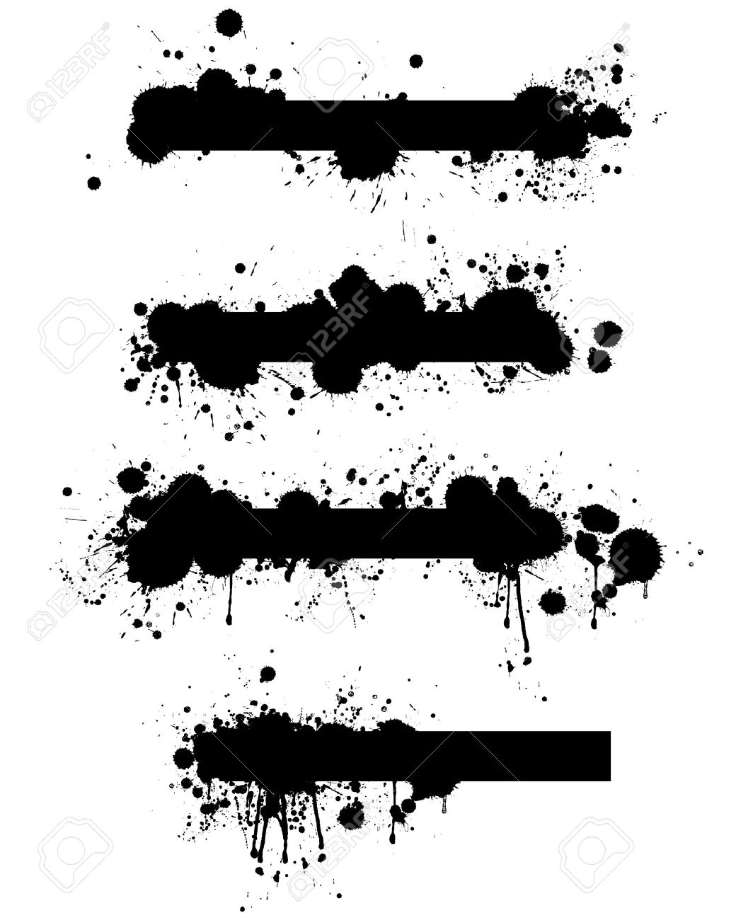 A collection of four highly detailed grunge splatter banner design elements in vector format. - 11196880