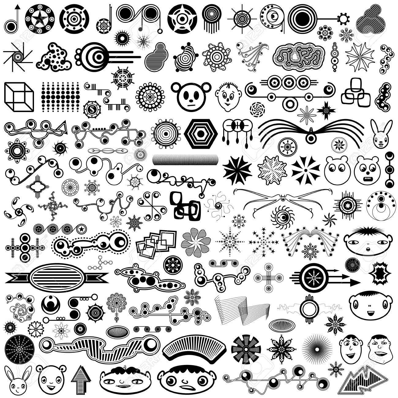 A huge set of a variety of highly original, unique, trendy design elements or brush set illustration. - 11452992