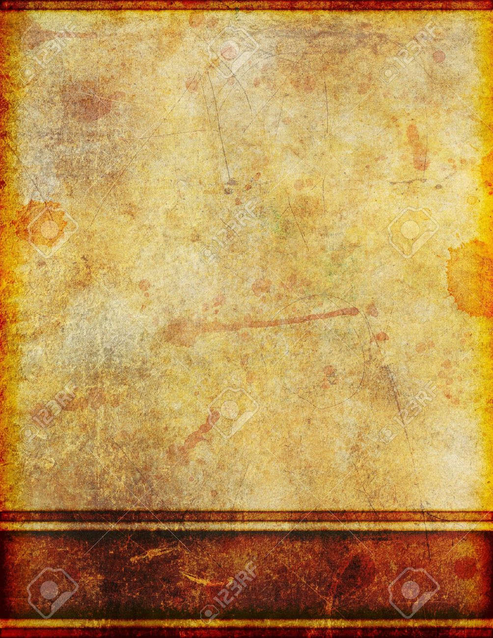 Background image of very old, yellowed and stained grungy parchment with border design. - 12176339