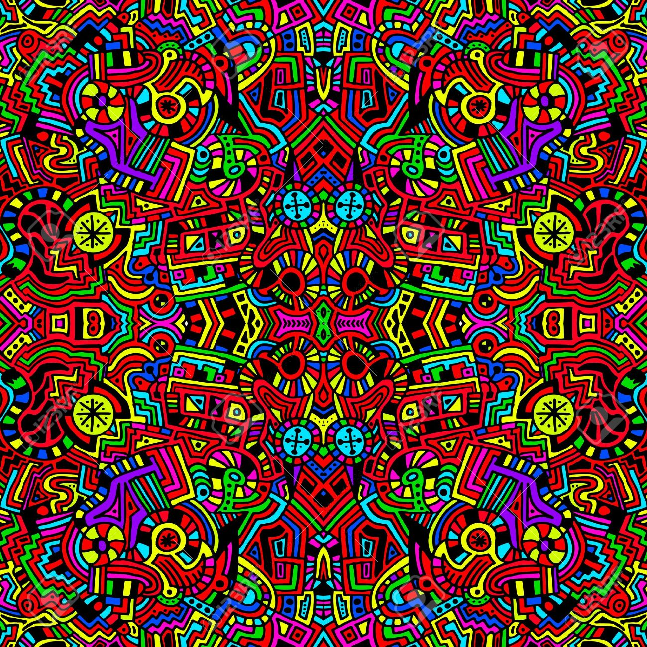 A Unique Seamless Very Colorful And Bright Abstract Modern
