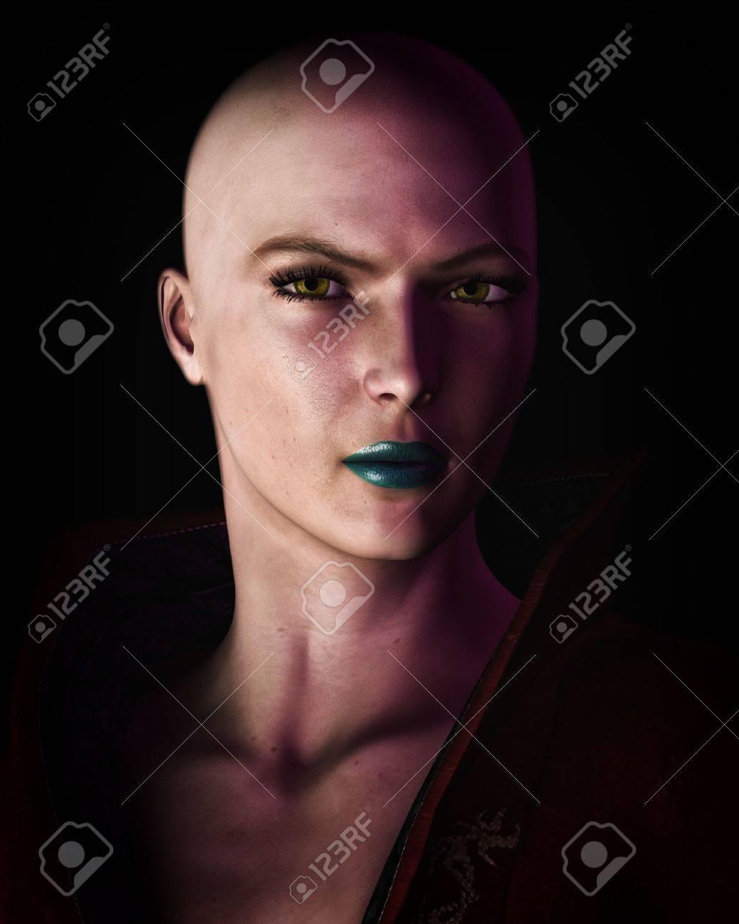 Digital illustration of a strong, futuristic sci-fi looking bald woman in heavy dark shadow. - 12474846