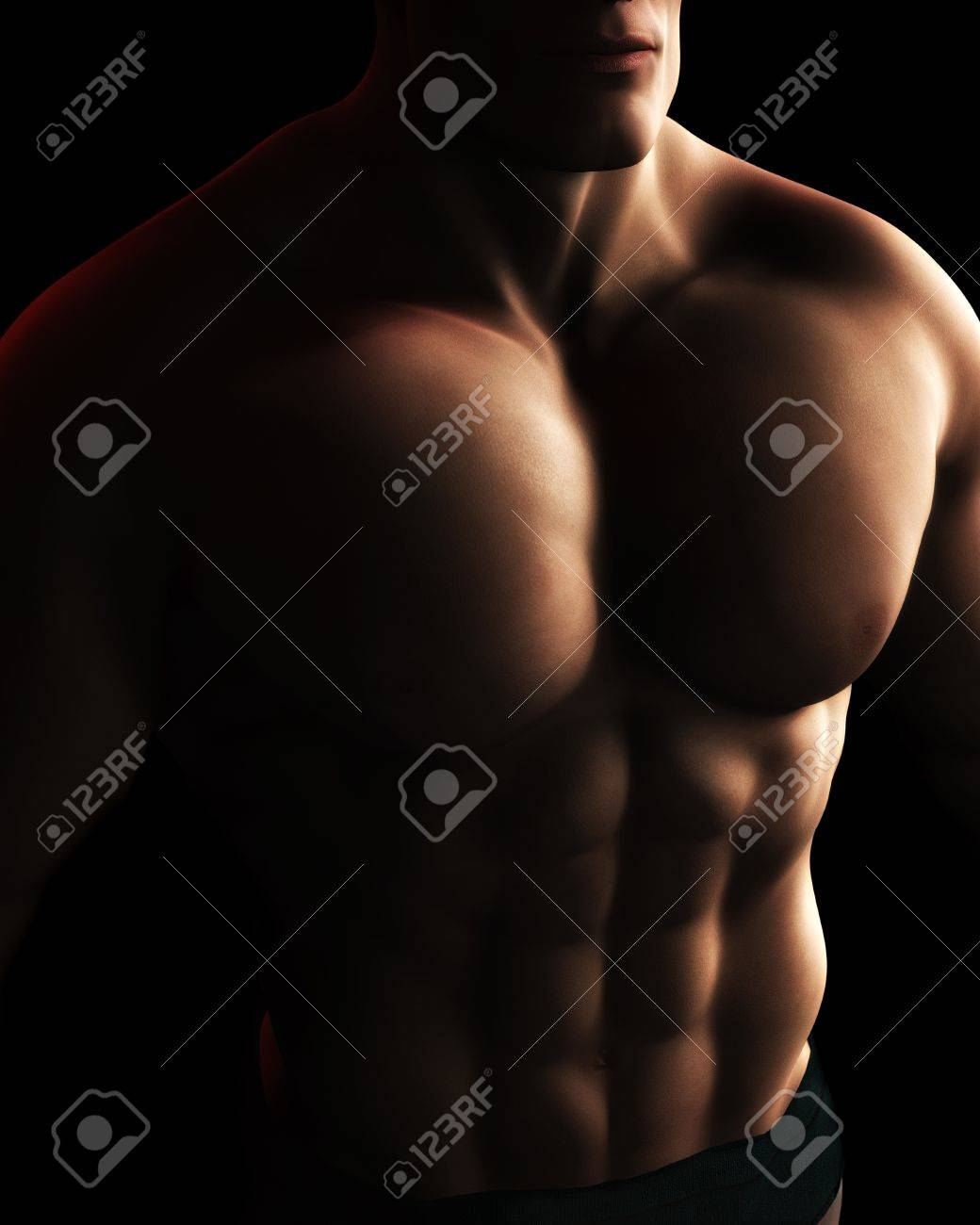 A Digital Illustration of a male bodybuilder's torso in dynamic light and shadow. Stock Illustration - 12474855