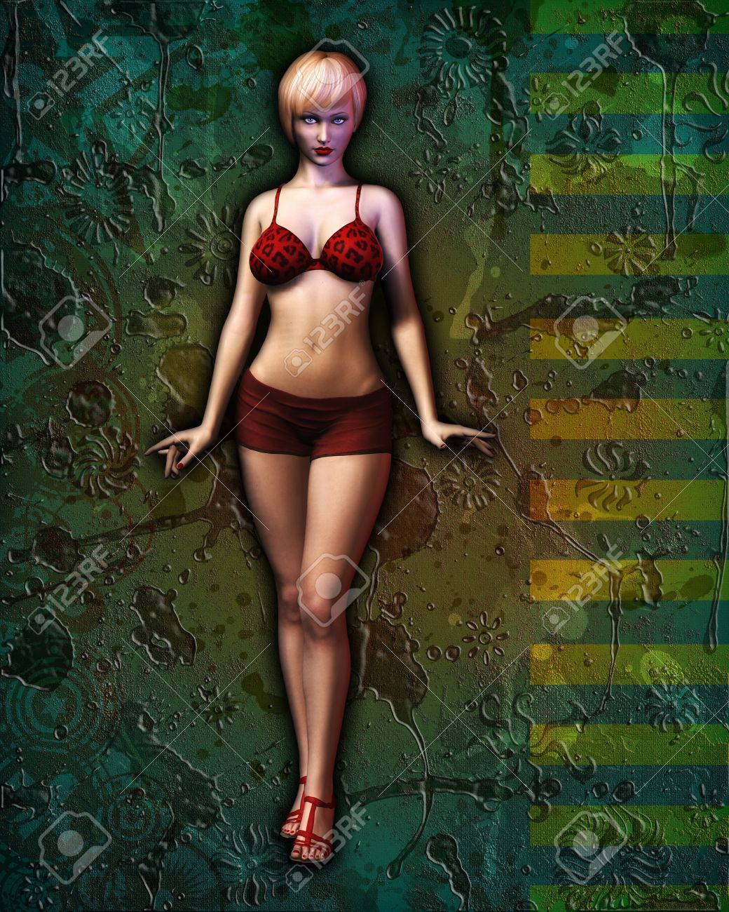 Digital illustration of an illustrated, sexy girl in bikini posing against artistic grunge abstract background. Stock Photo - 12474860