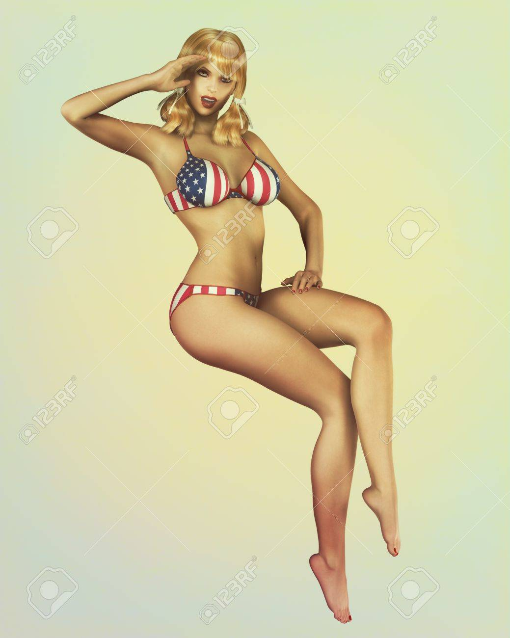 A Retro Styled Vintage Pinup Illustration Of A Sexy Blond Model Stock Photo Picture And Royalty Free Image Image 12474863