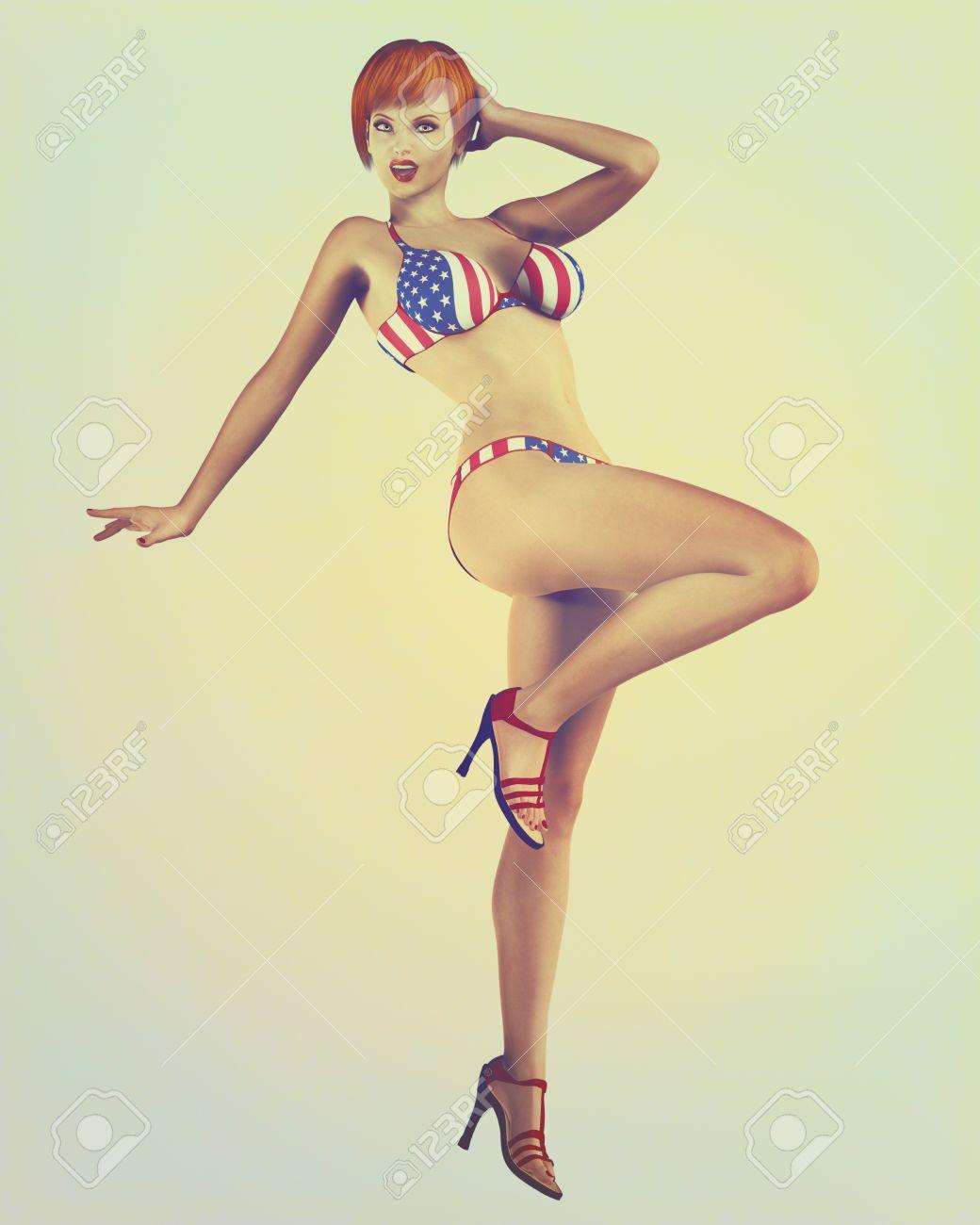 6c7a95780d85 Ilustración digital de un modelo pin-up clásico en un estilo vintage, retro  bikini bandera de Estados Unidos.