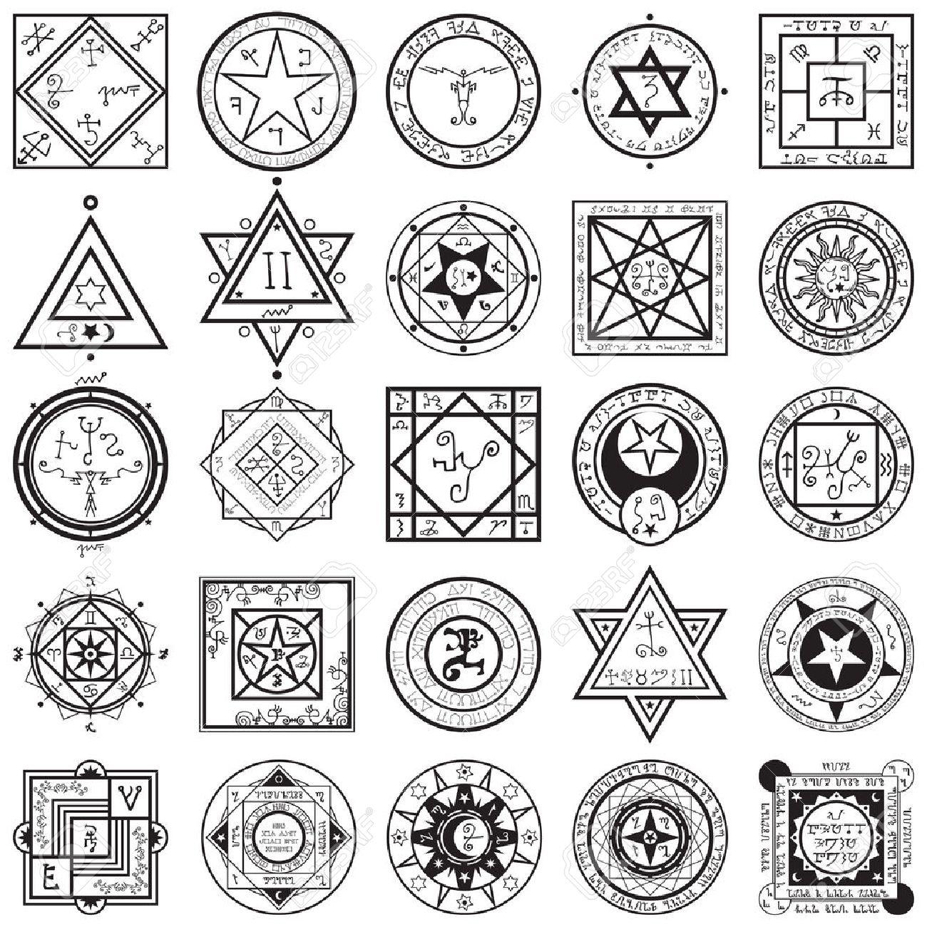 A vectors collection set of 25 unique magic and alchemy sigils and seals illustrations. - 39340090