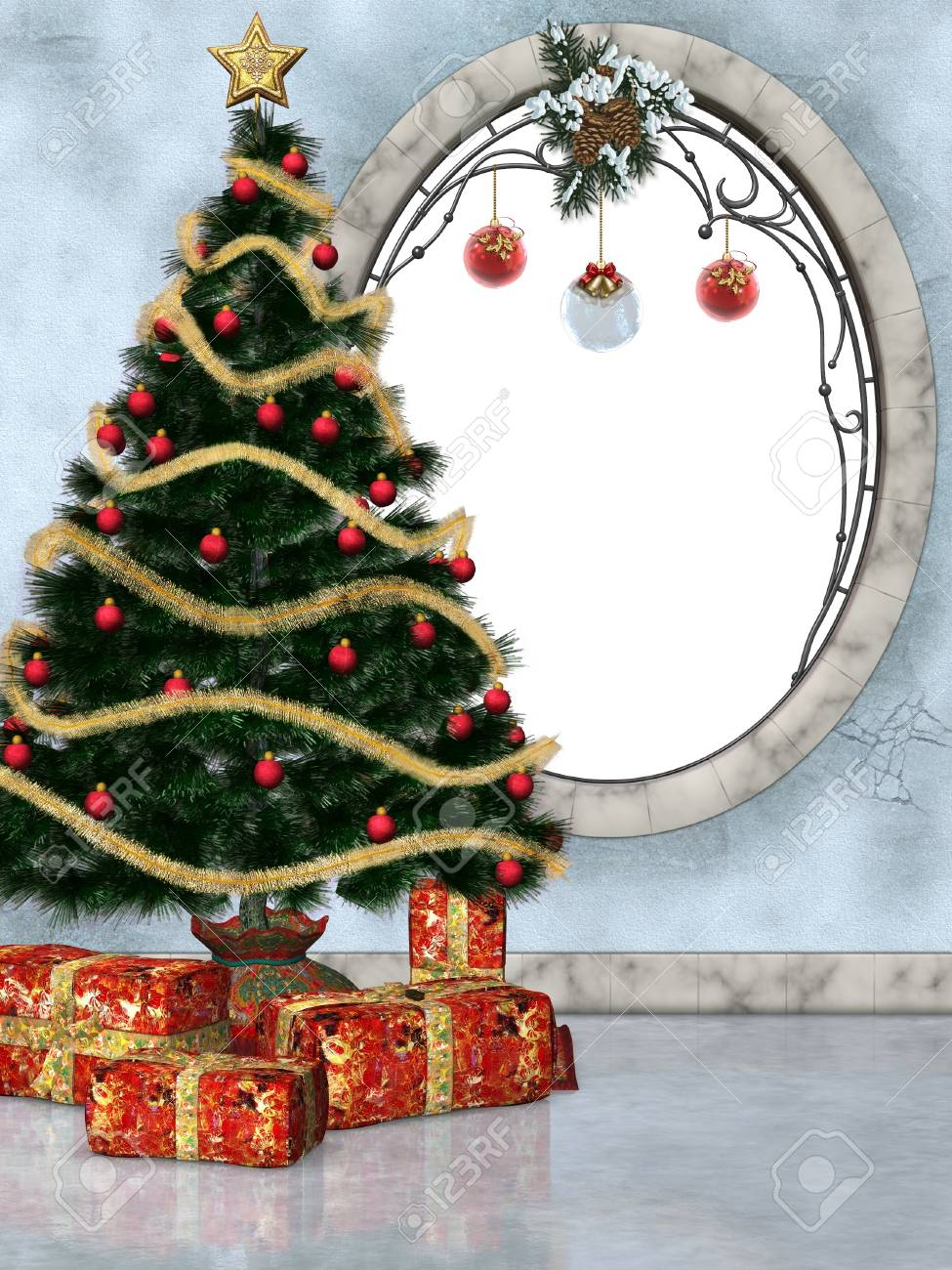 festively decorated room with Christmas tree Stock Photo - 9132548