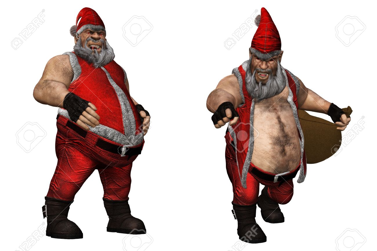an evil santa claus with red eyes isolated on white stock photo 9145553 - White Santa Claus