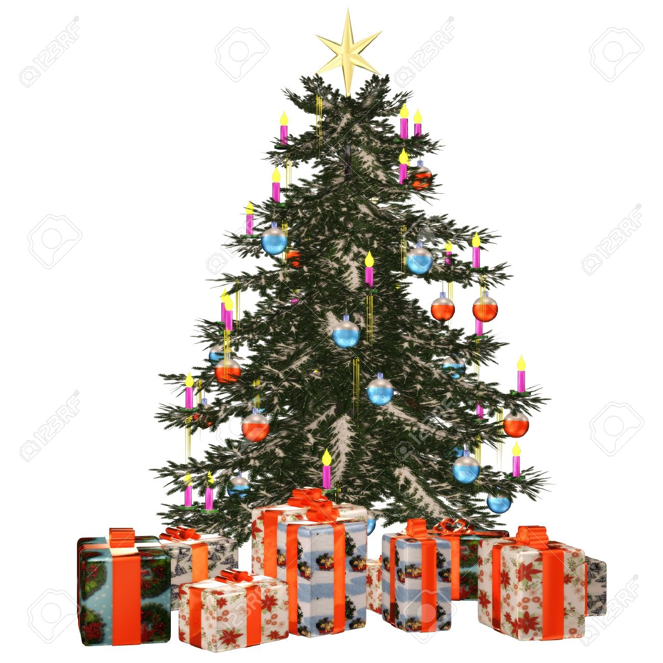 a beautiful Christmas tree with gifts - isolated on white Stock Photo - 9145488