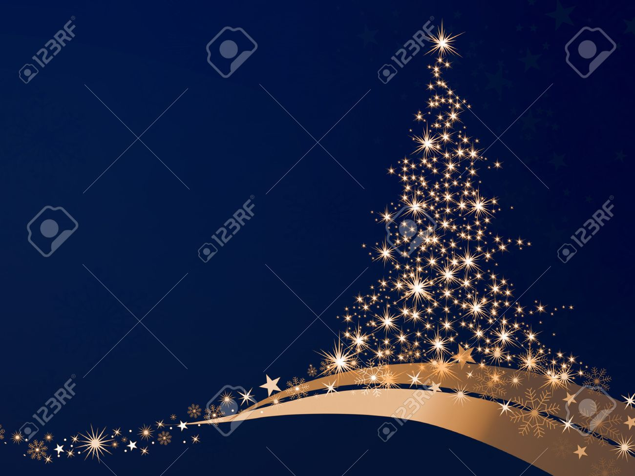 golden christmas tree of stars on a blue background Stock Photo - 11564136