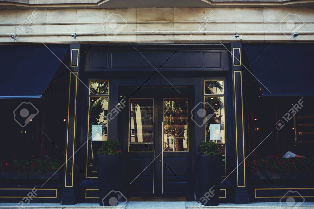 Exterior Of Luxury Restaurant Made Of Black Wood With Copy Space Stock Photo Picture And Royalty Free Image Image 56368260