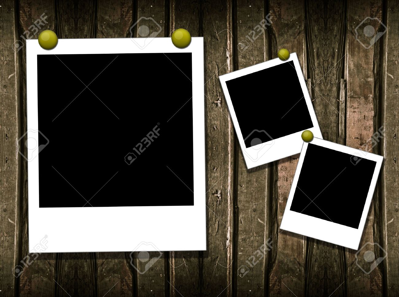Wood Background With Polaroid Frame Stock Photo, Picture And Royalty ...