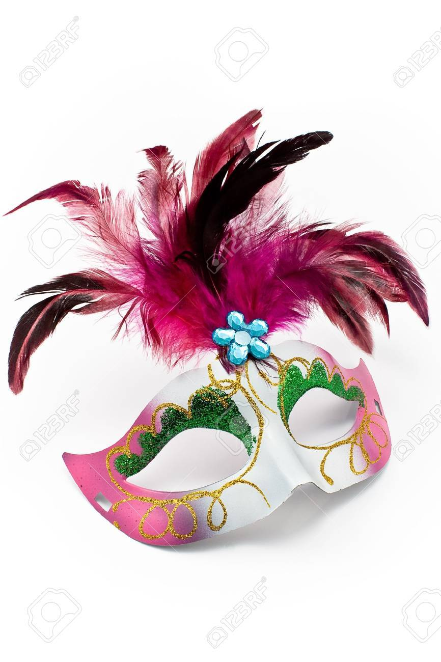 Carnival mask with feathers and diamond isolated on white Stock Photo - 9018186