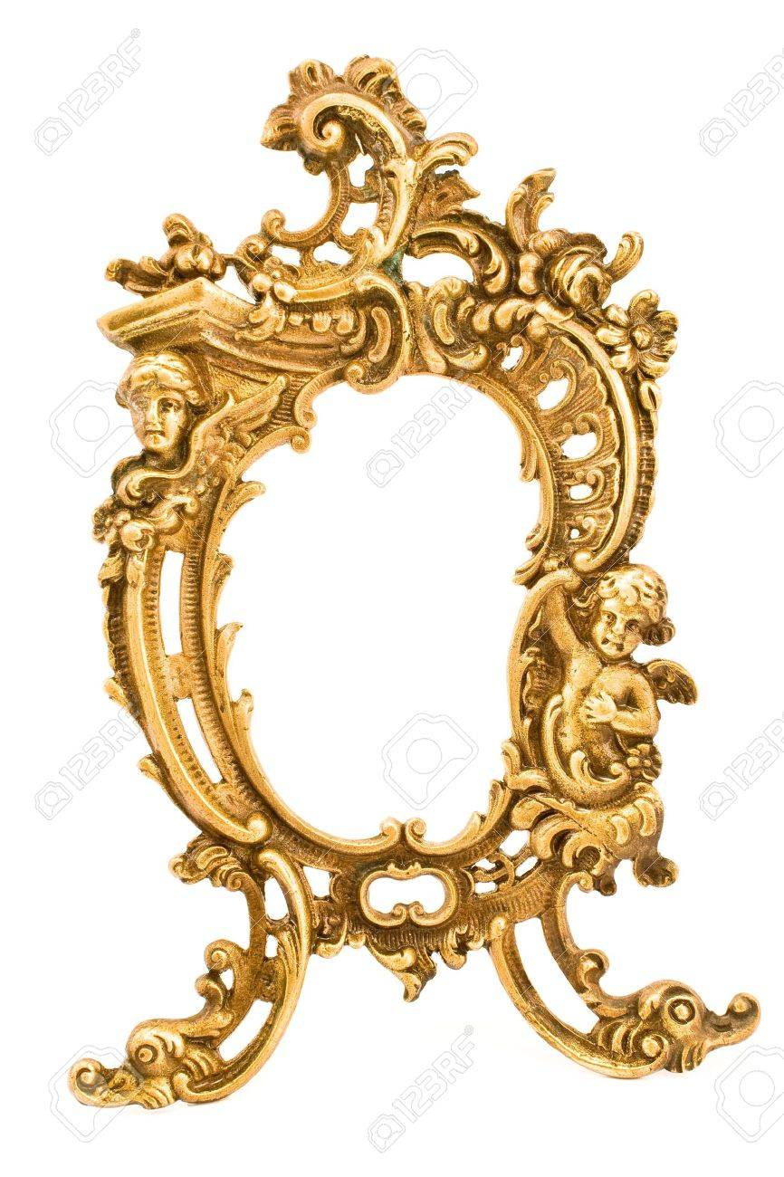 Wilko baroque mirror silver 87x62cm - Antique Baroque Brass Frame Isolated On White Stock Photo Picture