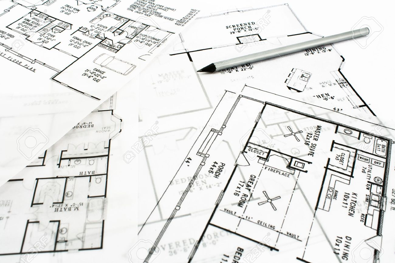House Plan Blueprints With Drawing Pencil Stock Photo  Picture And    Stock Photo   House plan blueprints   drawing pencil