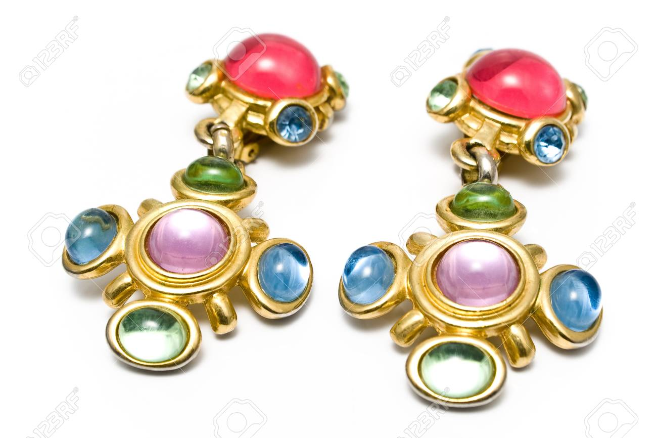 Earring with gems isolated on  white Stock Photo - 11090380