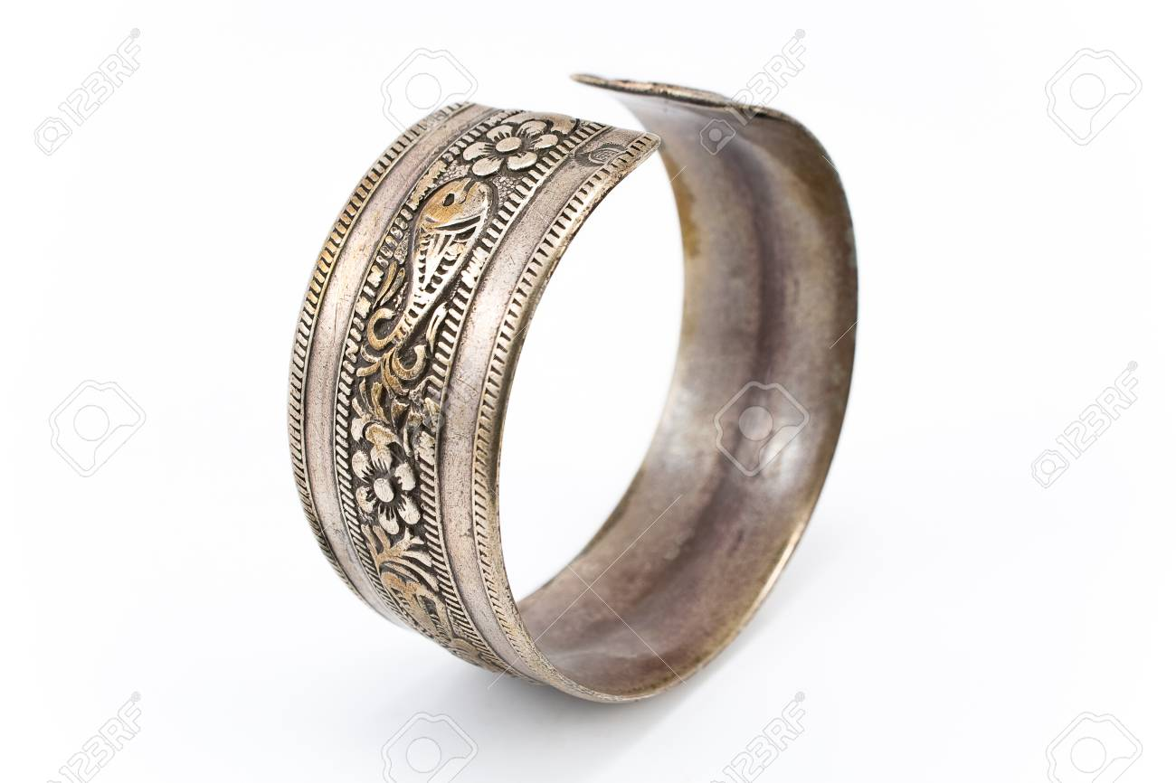 Antique silver bracelet isolated on white Stock Photo - 13028212