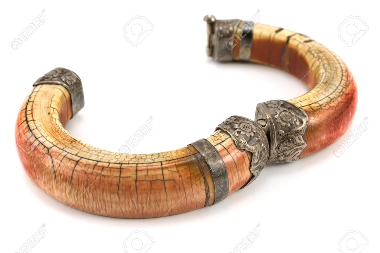 Open ivory bracelet isolated on white Stock Photo - 13028184