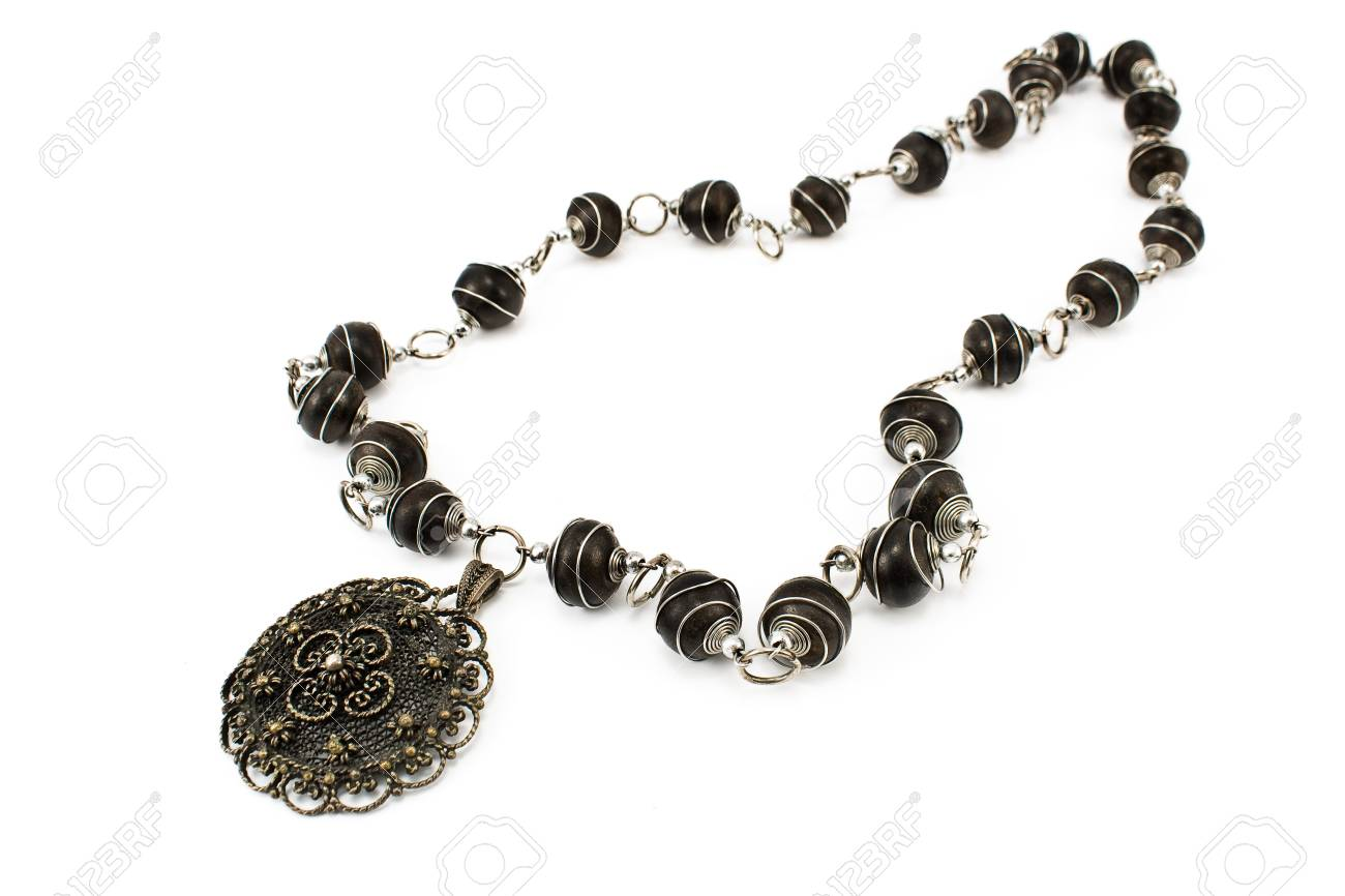 Black metal necklace isolated on white Stock Photo - 13028162