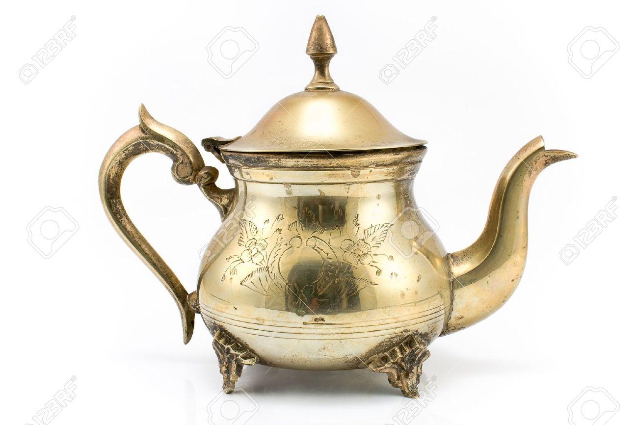 Antique silver teapot isolated on white Stock Photo - 13889143