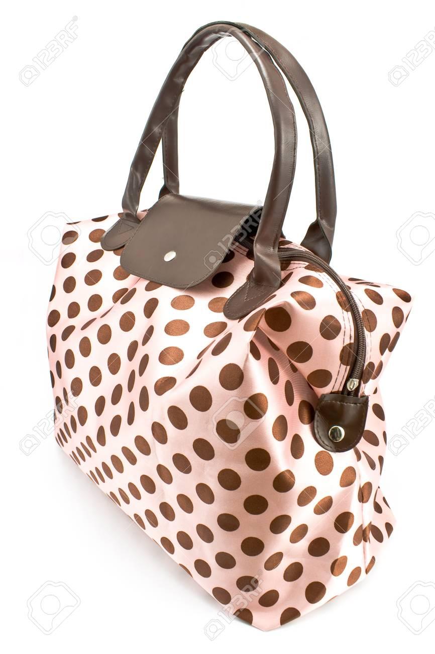 Polka dot bag isolated on white Stock Photo - 14754053