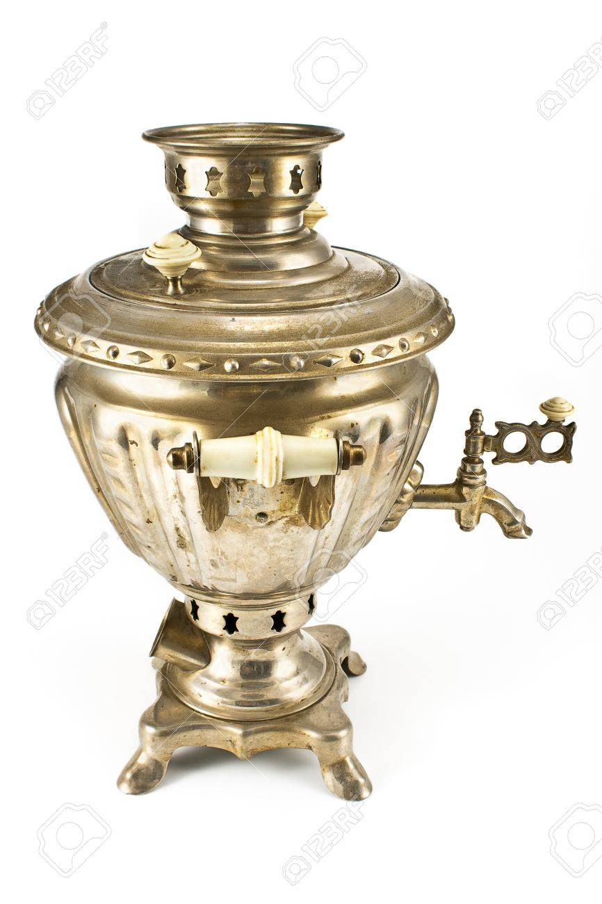 Old russian tea samovar isolated on white Stock Photo - 15874203