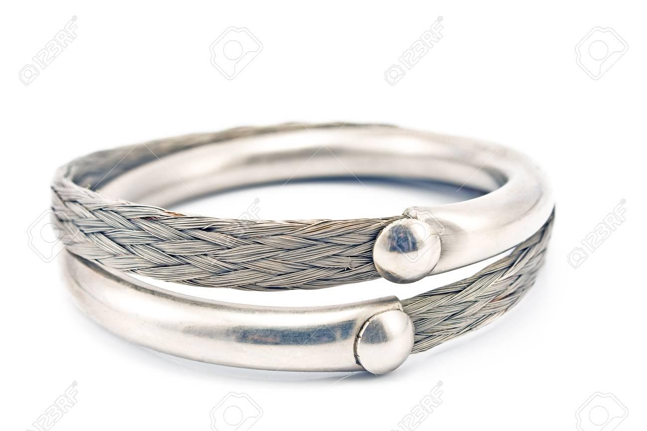 Silver bracelet isolated on white Stock Photo - 17284856