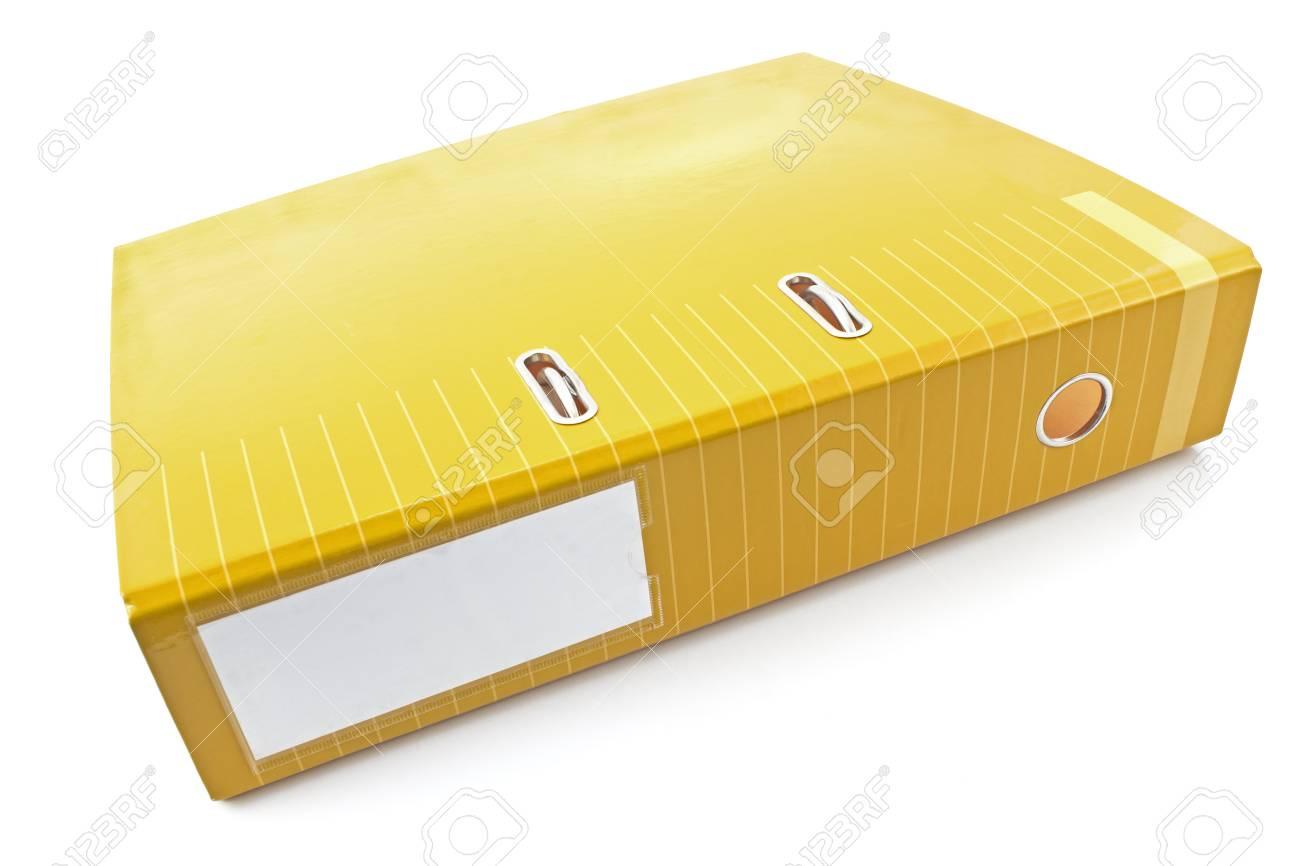 Dossier de bureau jaune isolé sur blanc banque d images et photos
