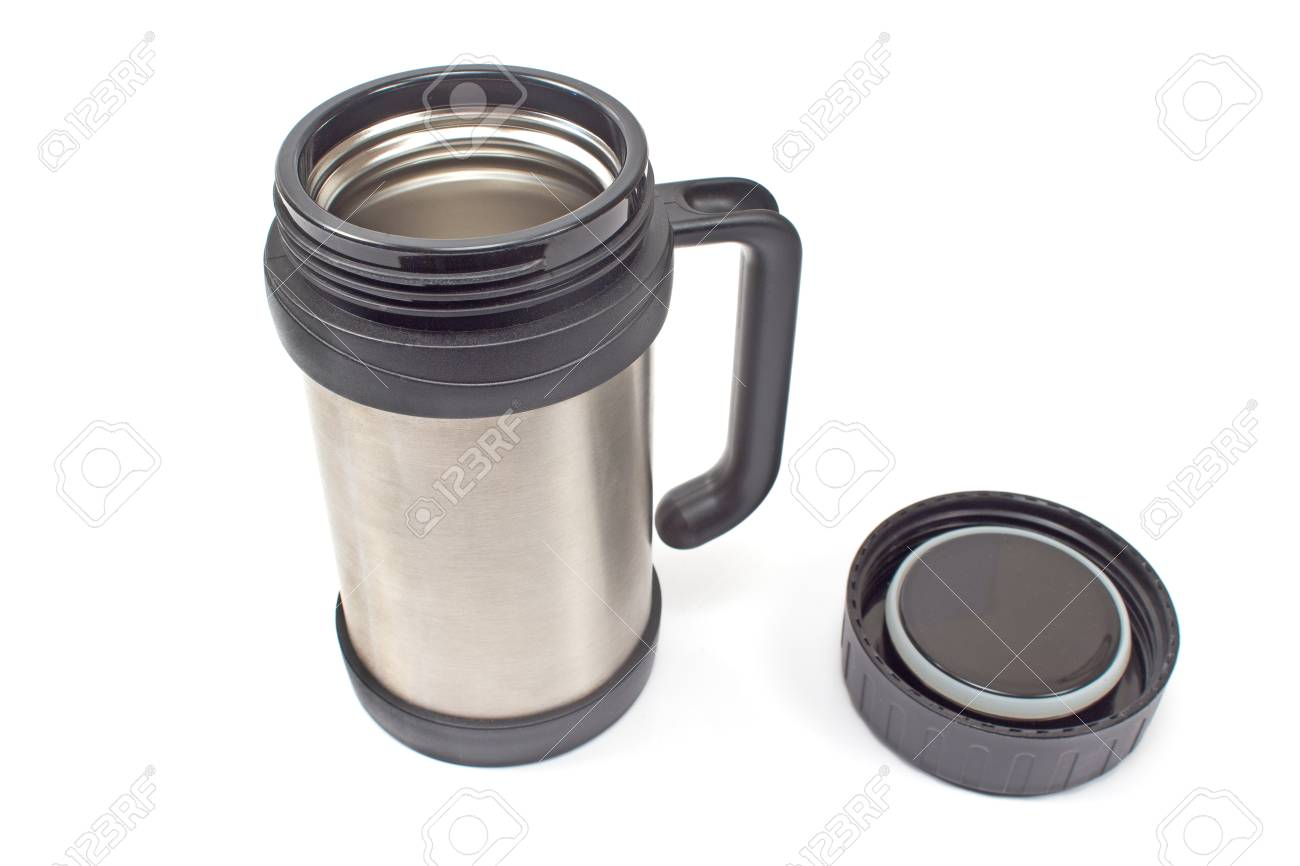 Thermos flask mug with lid isolated on white