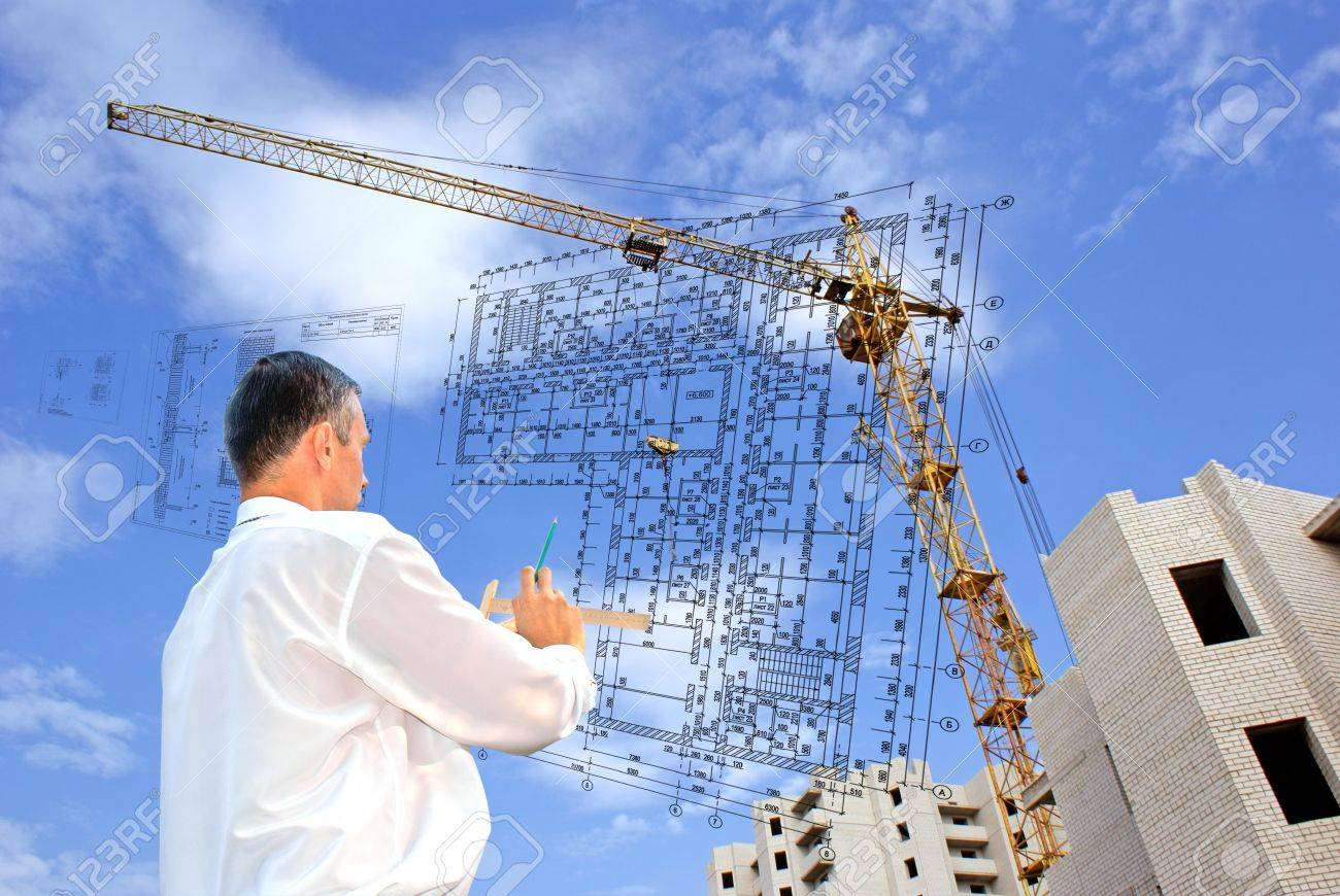 serious engineer-designing resolve compound architectural problem Stock Photo - 7607485