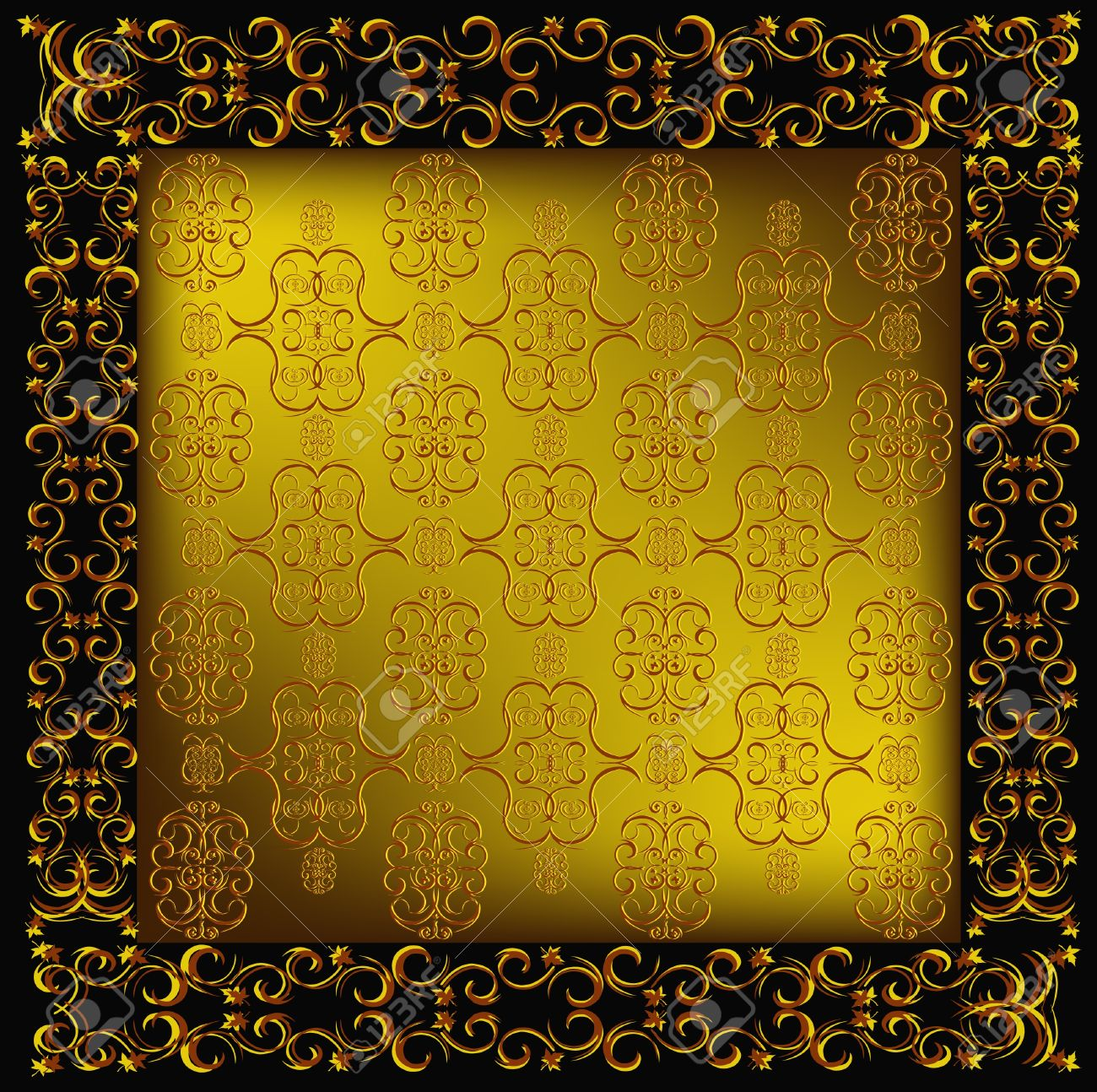 Decorative seamless wallpaper with a golden abstract east ornament Stock Vector - 9762850