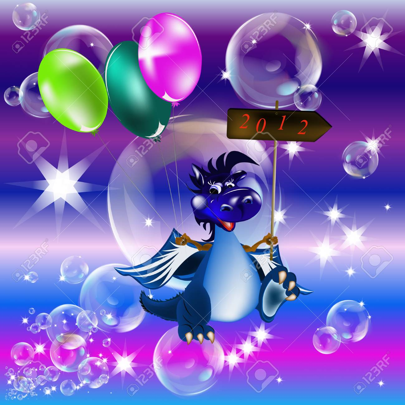 Dark blue dragon a symbol of new 2012 on east calendar Stock Photo - 10968254