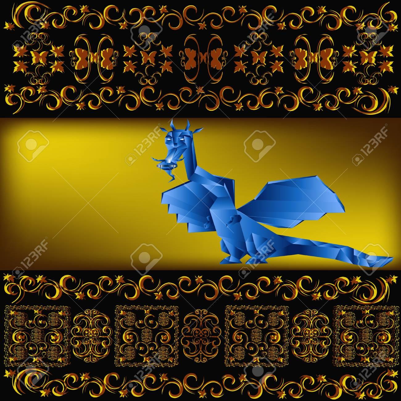 Dark blue fantastic dragon a symbol 2012 new years Stock Photo - 11674393