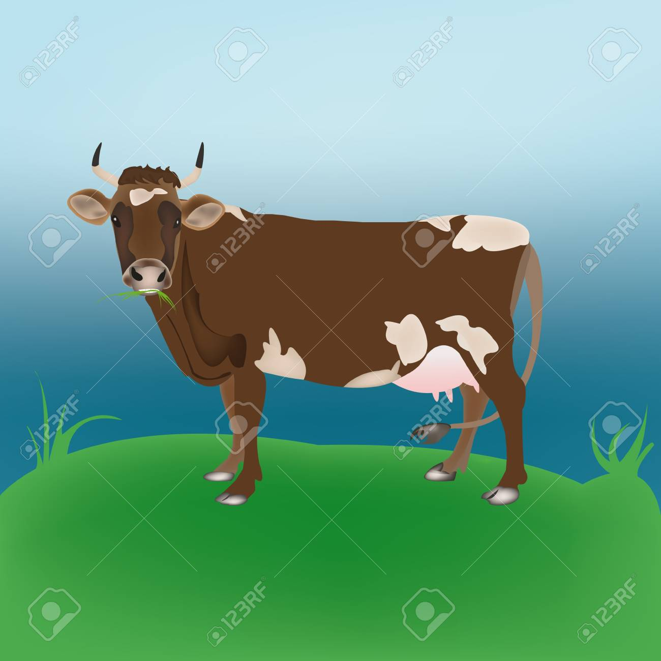 Cow over spring green meadow Stock Vector - 16624489