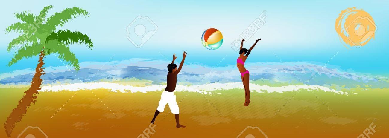 Happy children play on exotic sea beach Stock Photo - 17243017