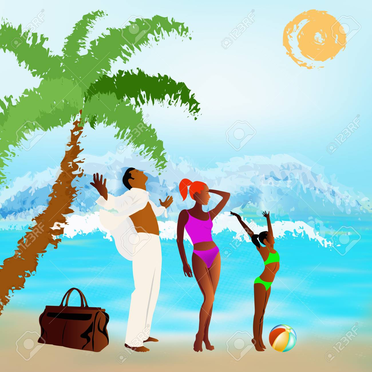 Romantic travel on exotic tropical island Summer family rest Stock Photo - 17276717