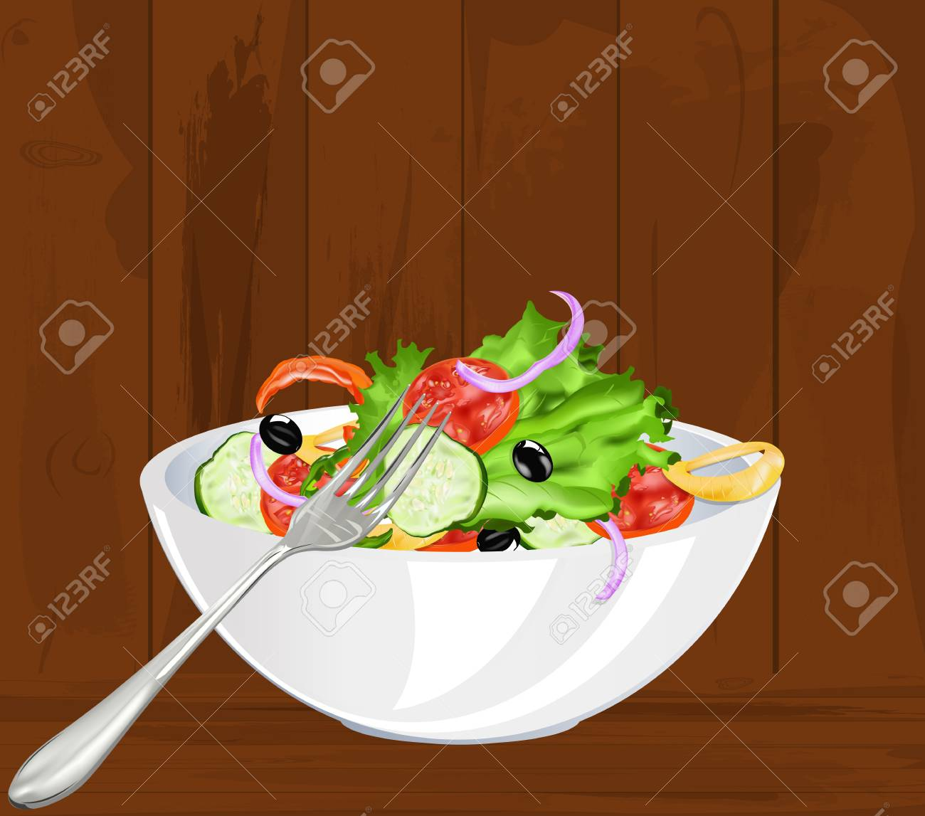Fresh vegetarian vegetable salad on a old wooden background Stock Vector - 17698655