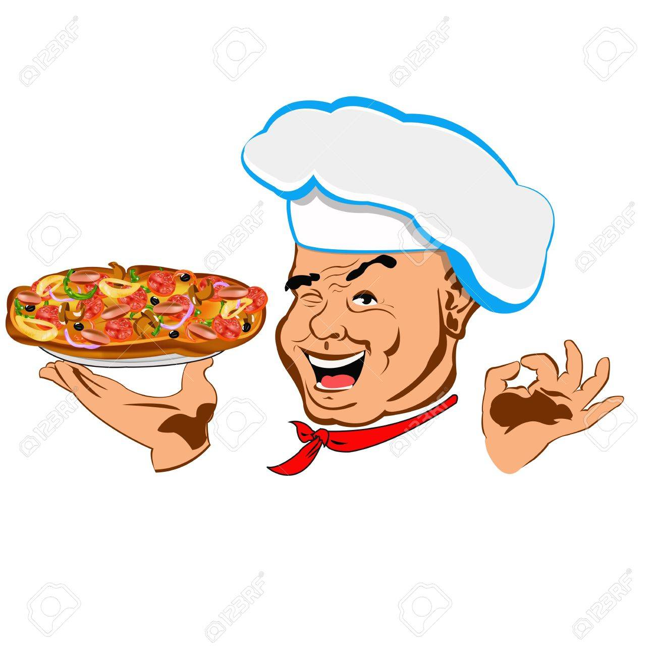Chef and big pizza Face Restaurant business - 17792298