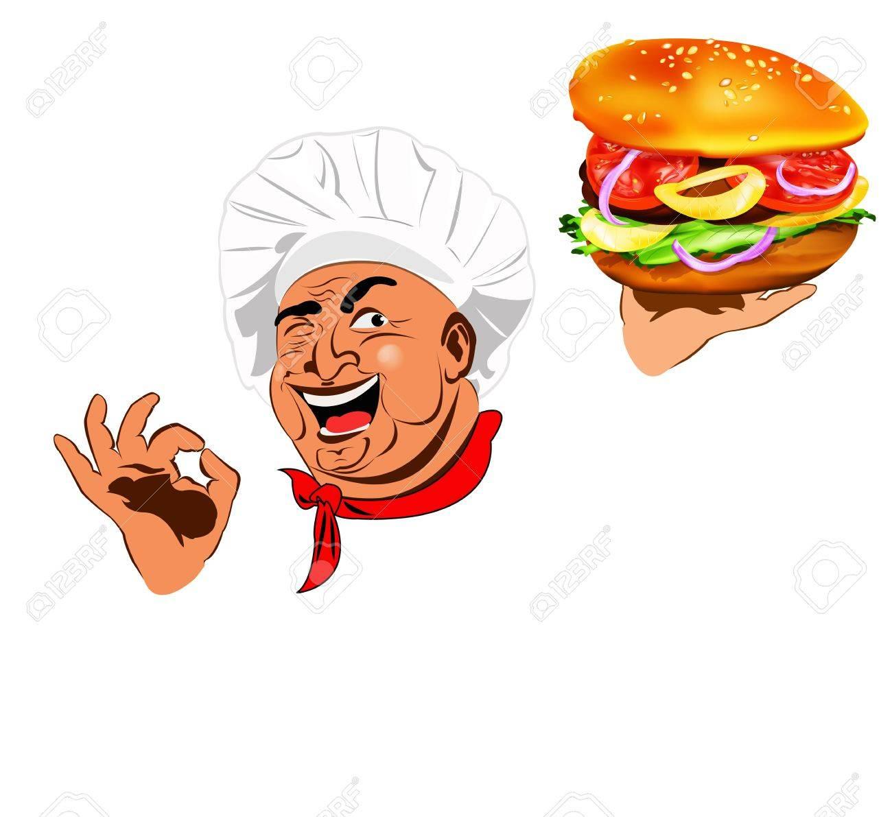 Funny Chef and traditional big hamburger Stock Photo - 17947823