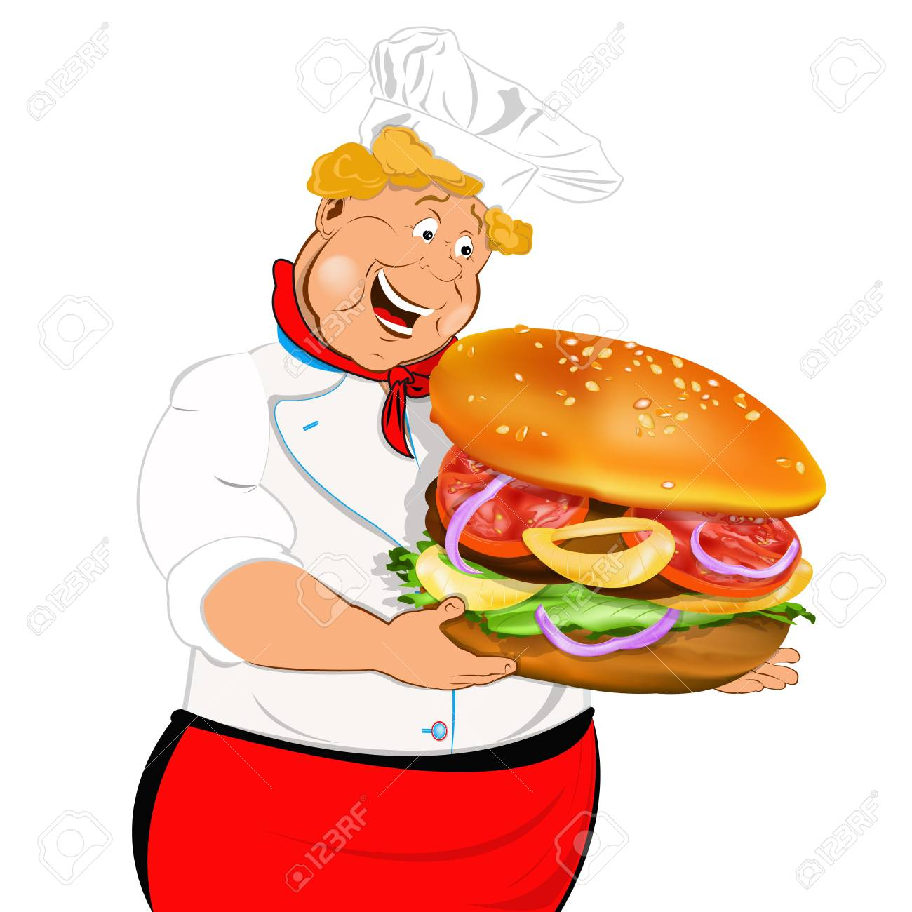 Funny Chef and best big traditional hamburger Stock Photo - 18001680
