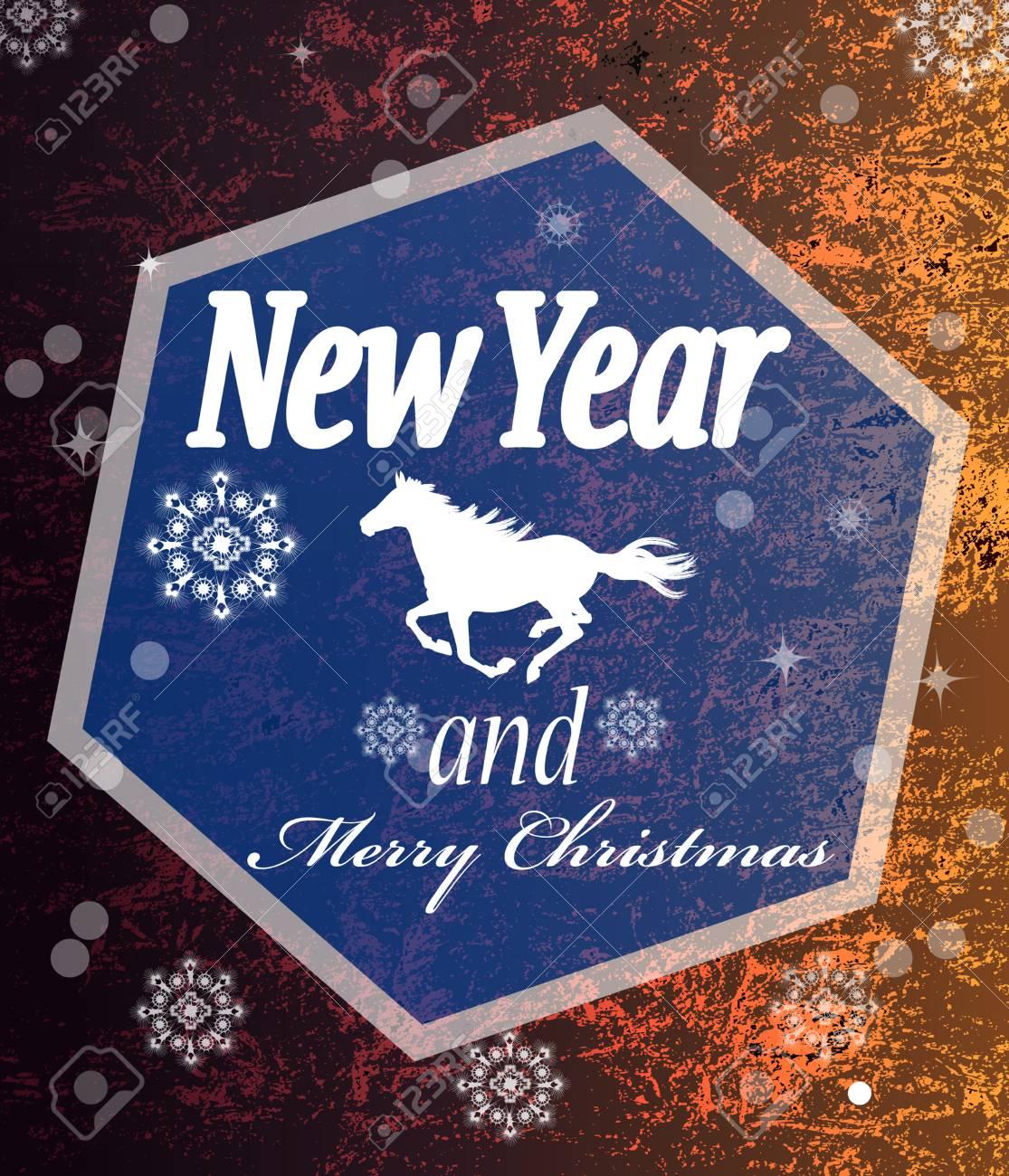 The New Year Horse Vintage retro vector Christmas card Stock Vector - 22381382