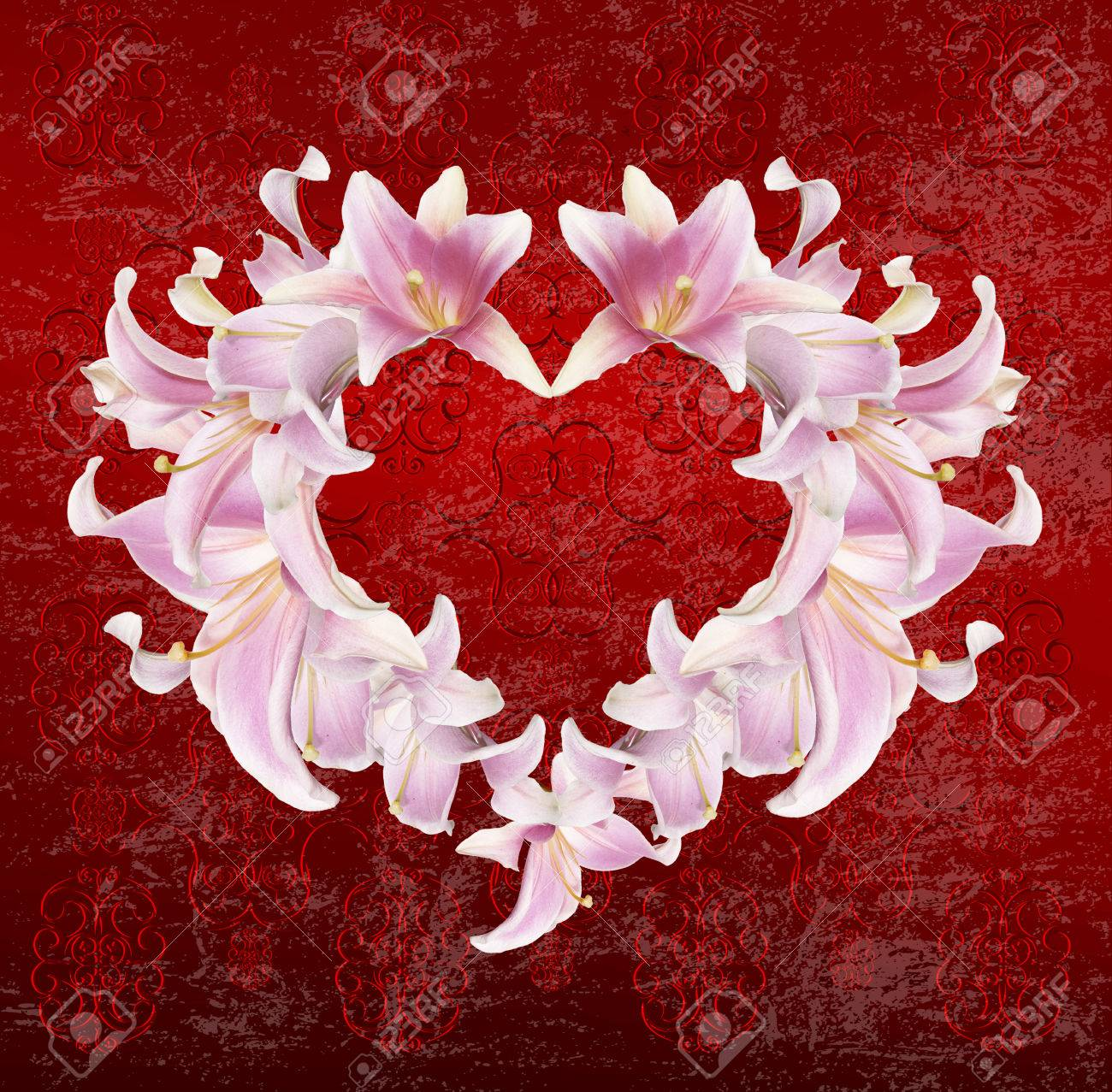 Heart Lily Flower Wedding Holiday Abstract Background Stock Photo