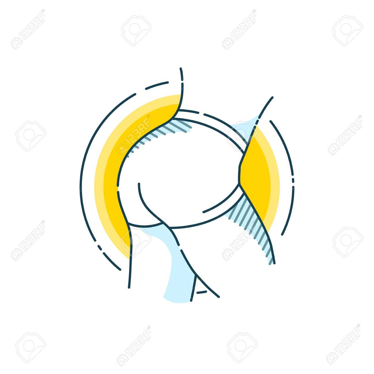 Taut buttocks. Flat line art design concept. Fitness. Sport. Bodybuilding. - 89909586