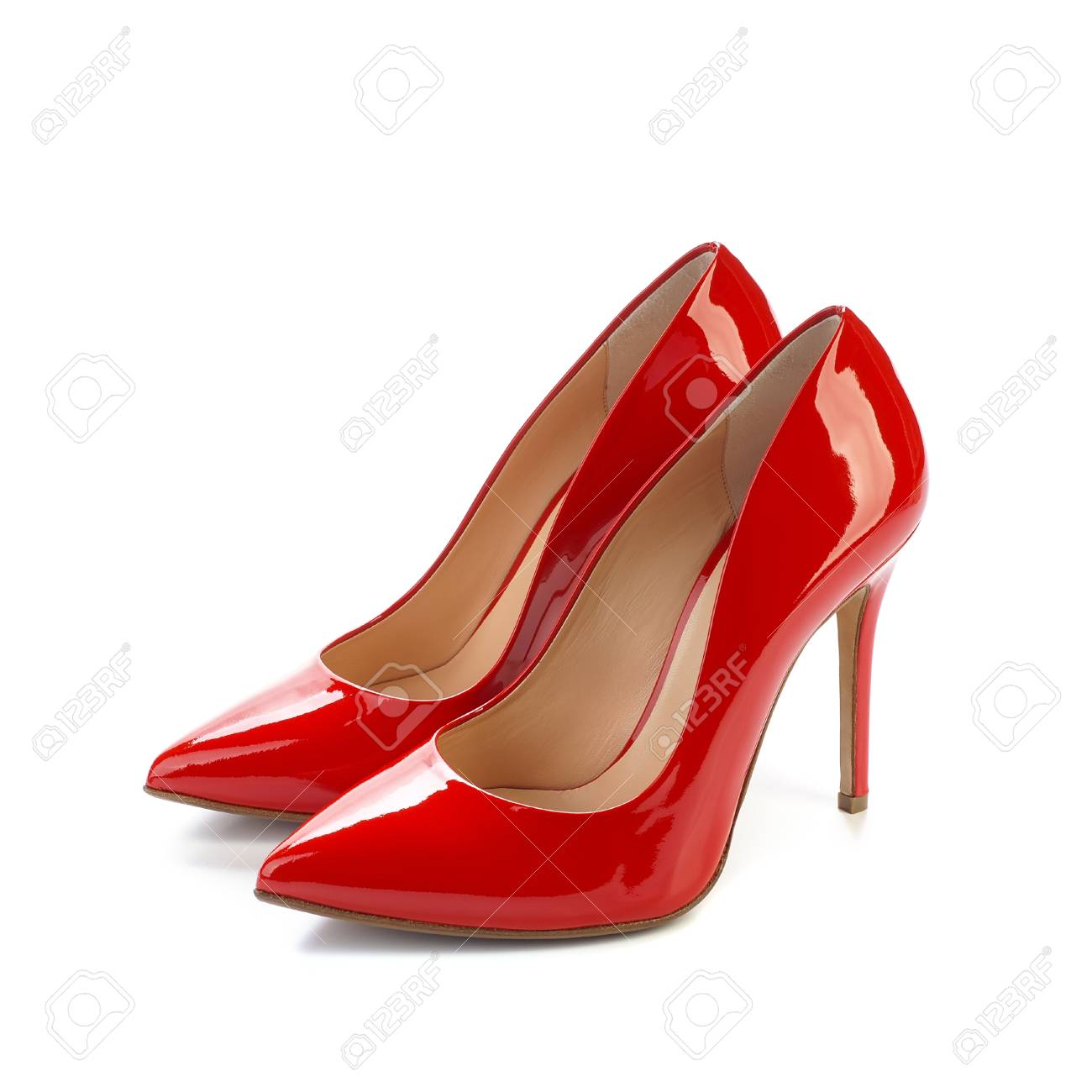 6ade07d8adc Red high heel women classic shoes on white background