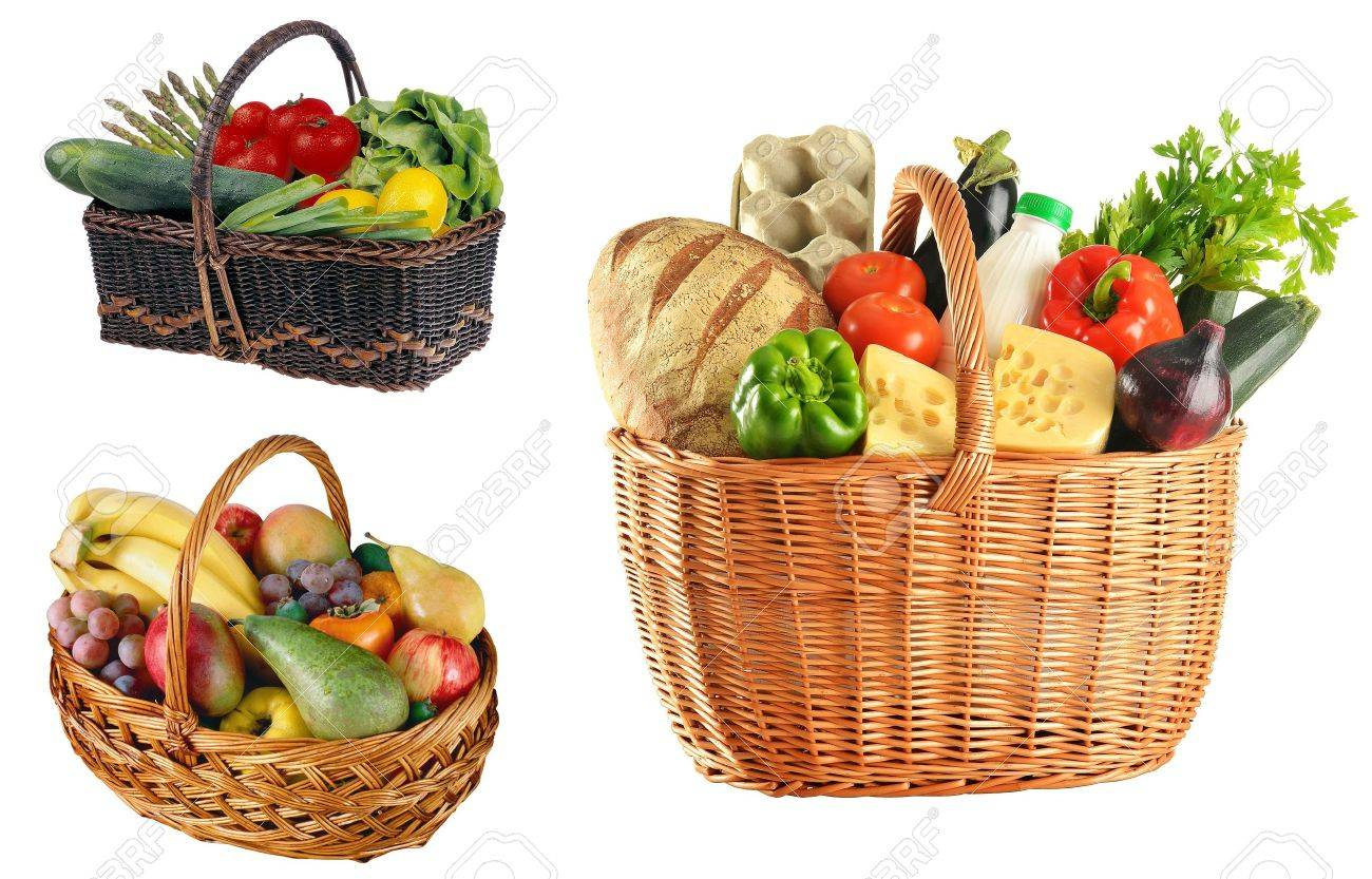 Basket with food isolated on white background Stock Photo - 19610350