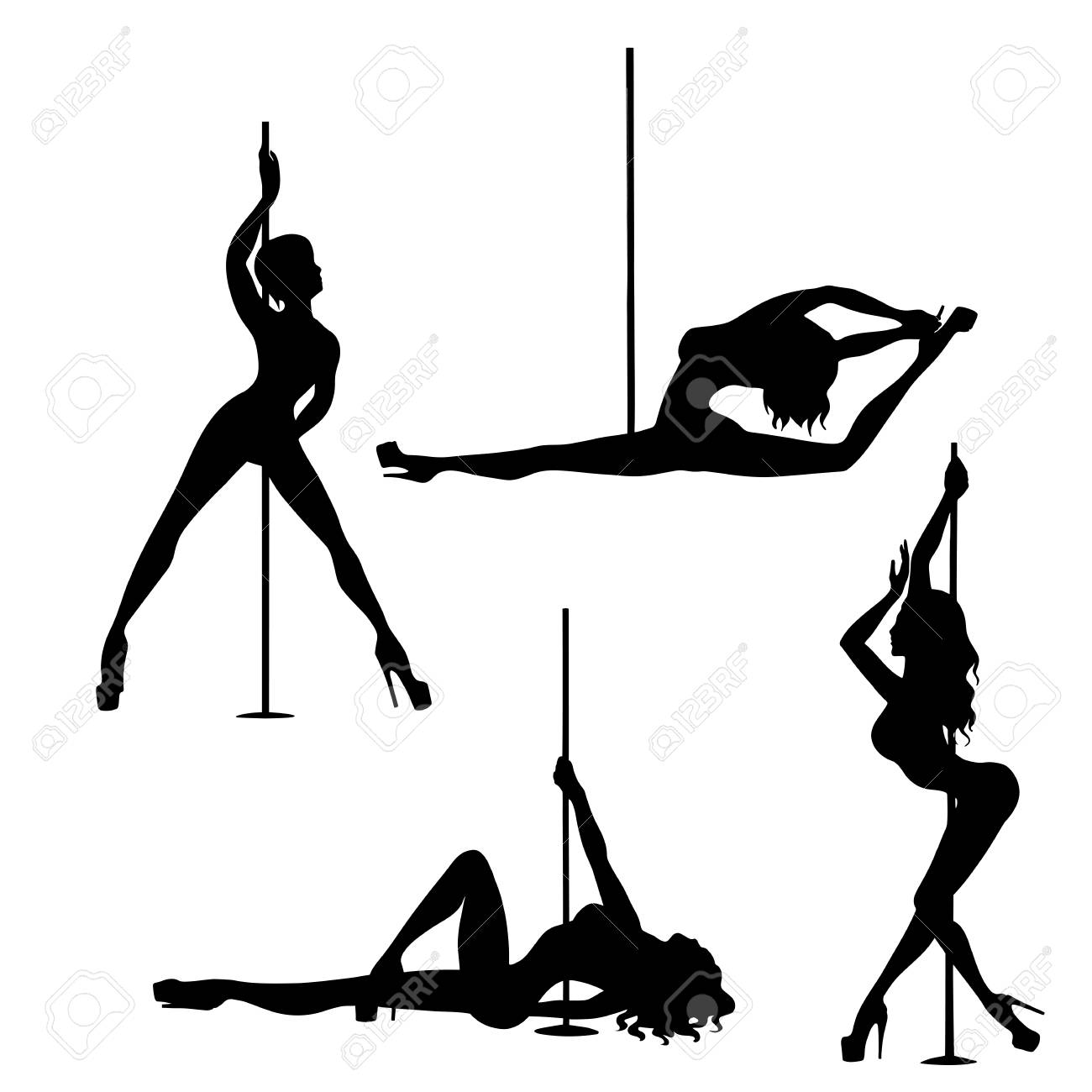 Set Of Silhouette Pole Dance Exotic Royalty Free Cliparts Vectors And Stock Illustration Image 103745306