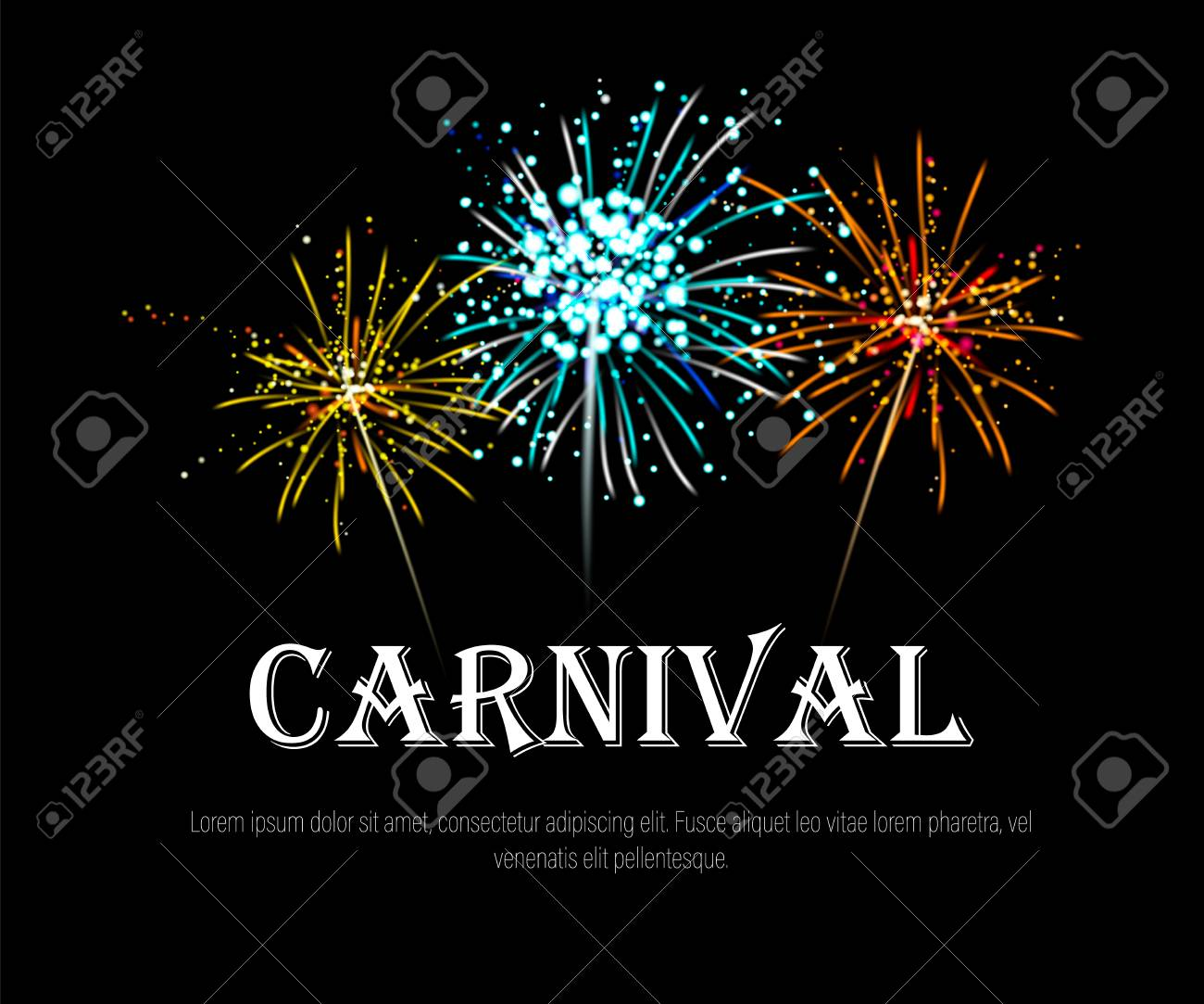 Happy carnival banner with realistic yellow, blue, orange fireworks