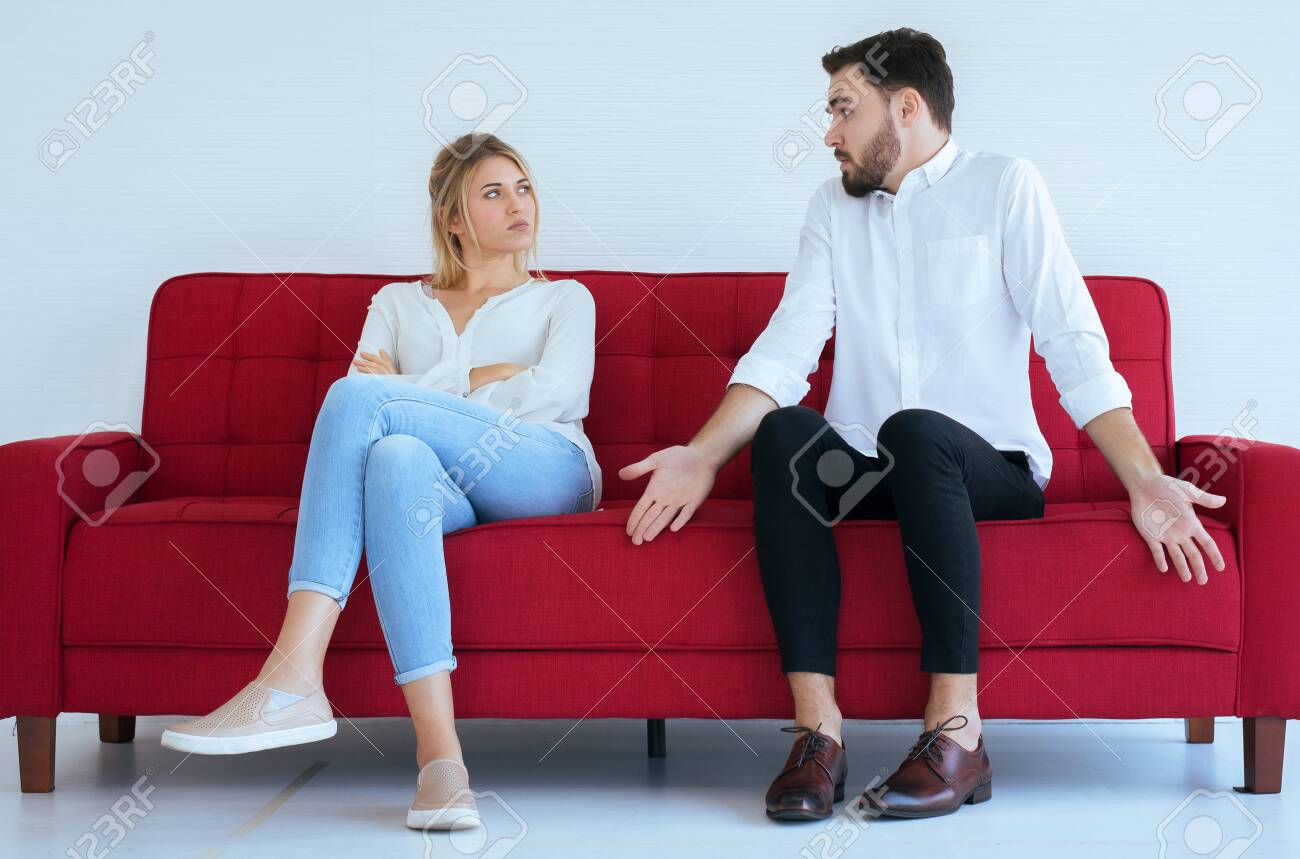 Husband hot tempered quarreling with wife conflict and boring two couple in the living room,Negative emotions - 122479183