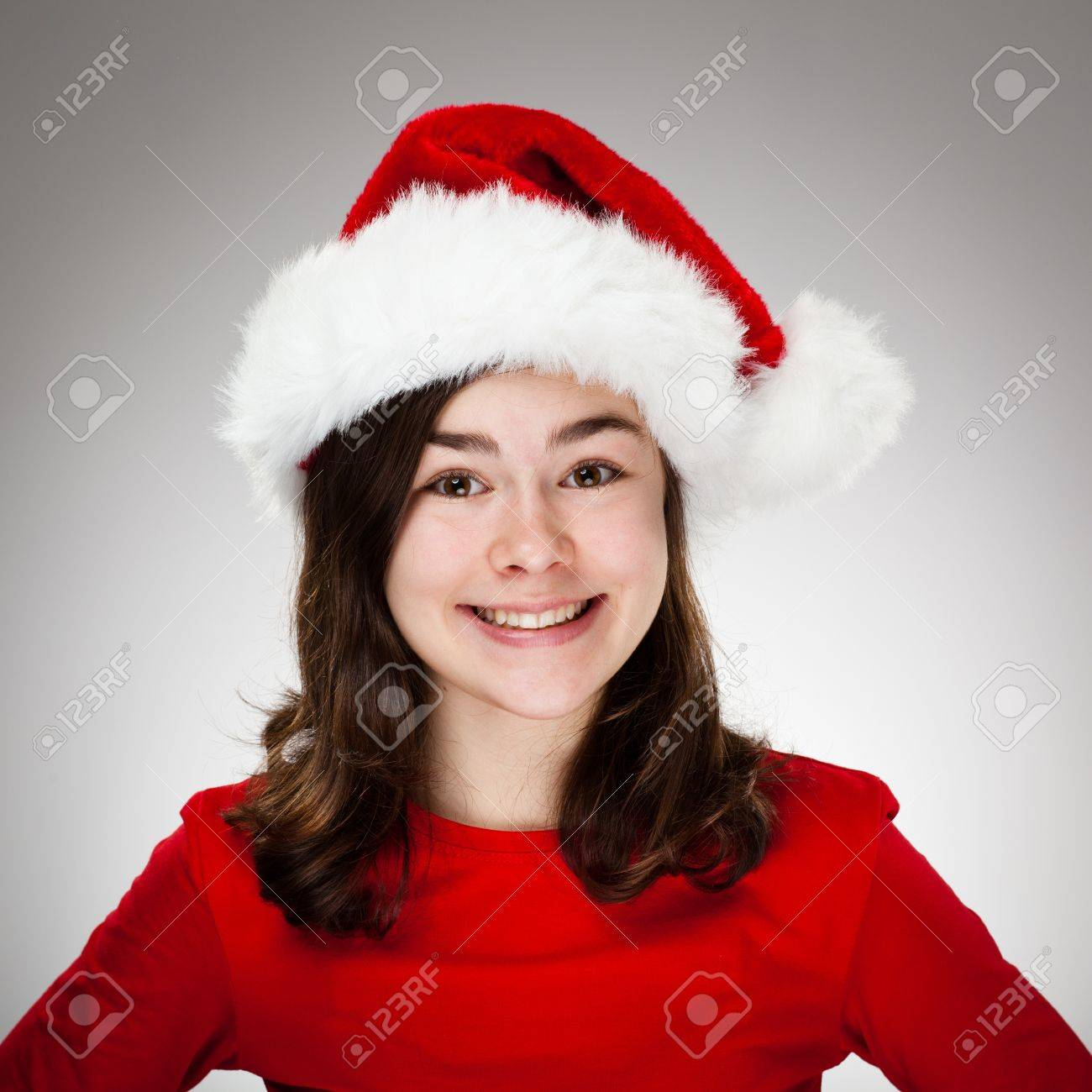 Portrait of beautiful girl wearing Santa Claus hat Stock Photo - 13822102