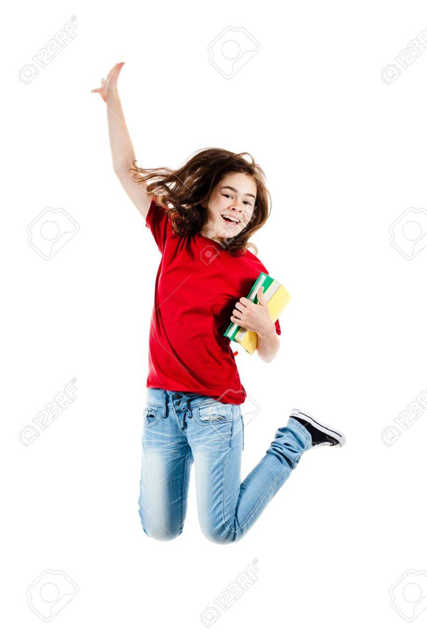 Girl jumping, running isolated on white background Stock Photo - 14297967